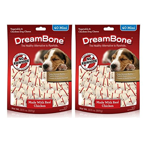 Cheap DreamBone Dog Chew w/Real Chicken & Vegetables (2 Pack – Mini, 40 pieces/pack)
