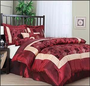 Nanshing Angela Queen 7-Piece Jacquard Comforter Set, Red