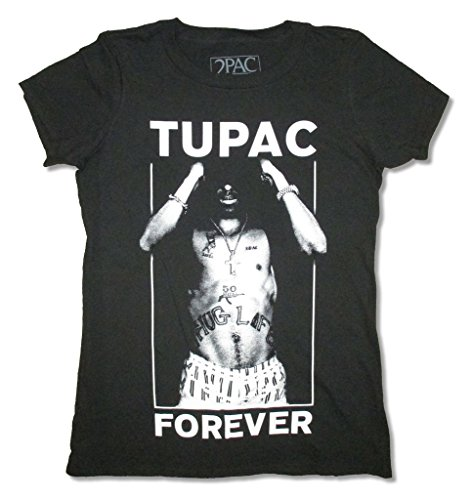 Tupac Forever Girls Juniors Black T Shirt (2X) (Girls Tupac Shirt)
