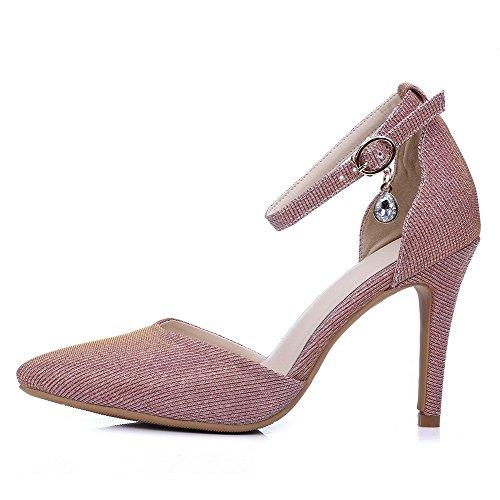 Amoonyfashion Femmes Pointues Bout Fermé Pointes Stilettos Boucle Solide Chaussures Chaussures Rose