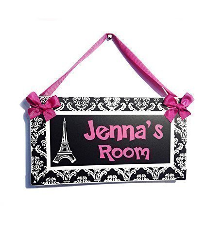 Personalized Eiffel Tower Paris Themed Teenagers Bedroom Door Plaque, Hot Pink with White Damask Pattern
