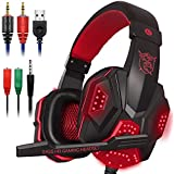 Gaming Headset with Mic and LED Light for Laptop Computer, Cellphone, PS4 and son on, DLAND 3.5mm Wired Noise Isolation Gaming Headphones - Volume Control.(Black and Red)