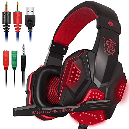 Gaming Headset with Mic and LED Light for Laptop Computer, Cellphone, PS4 and so on, DLAND 3.5mm Wired Noise Isolation Gaming Headphones - Volume Control