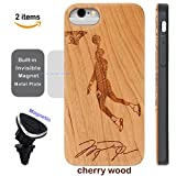 Sports iPhone 8 7 6 Case,iProductsUS iPhone 6S Wood Phone Case Engraved Basketball Player,Built-in Magnet Metal Plate,Covered TPU Rubber iPhone Shockproof & Protective Case (4.7') with Magnetic Mount