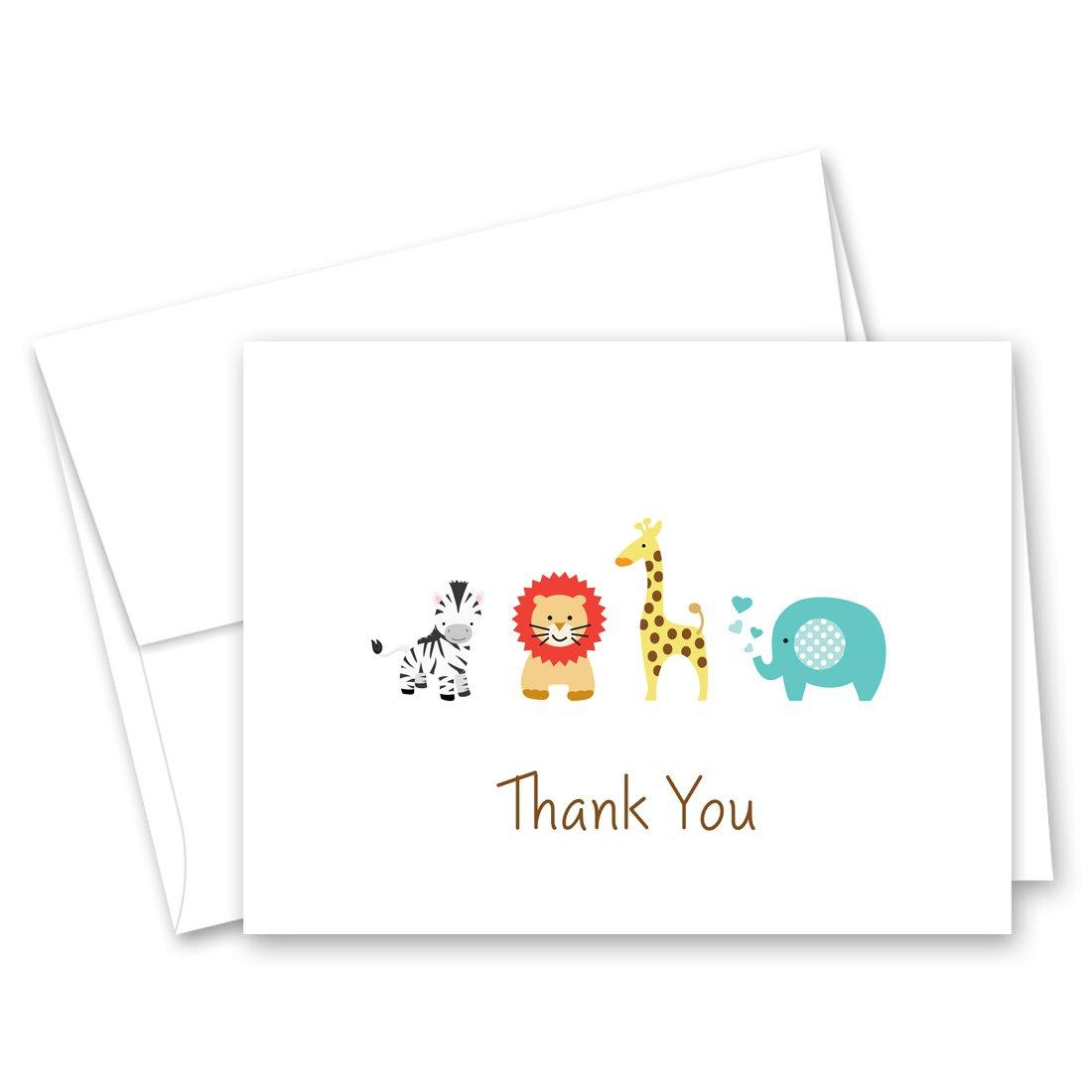 50 Safari Animals Baby Shower Thank You Cards (White)