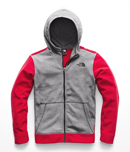 - The North Face Boys Glacier Full Zip Hoodie - TNF Red & TNF Medium Grey Heather - S