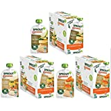Sprout Organic Baby Food Pouches Stage 3 Meat Variety Pouches (18 pack) 6 Creamy Vegetables w/Chicken, 6 Market Vegetables Pears with Turkey, 6 Garden Vegetables Brown Rice with Turkey