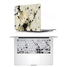 """Masino 2 IN 1 Hard Case Plus TPU Keyboard Cover for Macbook Air 13"""" (A1369 and A1466) (Case+Cover for Mac Air 13"""", Marble White with Black Yellow)"""