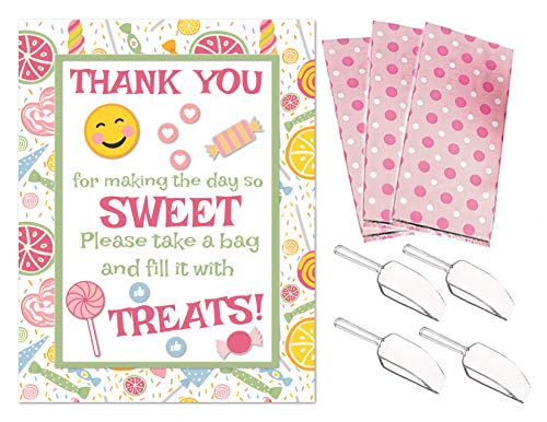 (Pink Candy Buffet Sign Mini Plastic Candy Scoops 24 Goodie Bags Baby Shower Sweet Sixteen Birthday)