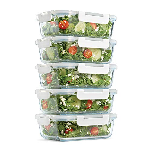 Fit & Fresh Glass Containers, Set of 5 Containers with Locking Lids, Meal Prep, 5-Pack, Glass Storage Containers with Airtight Seal, 35 oz.