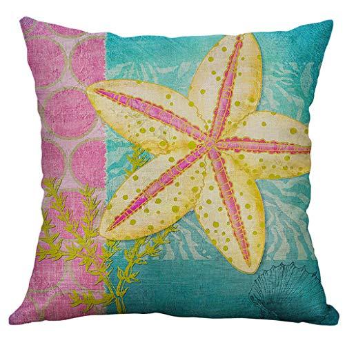 Pillow cases Marine Life Printed 50X50Cm Decorative,HYGCGH7Y 100% New 2019 Linen Pillow Pillowcase Home Decorative
