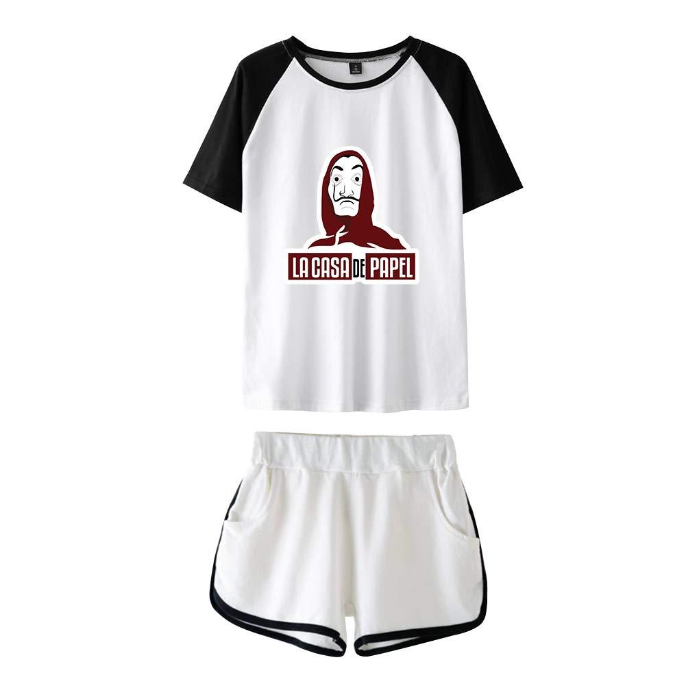 SISAT La CASA de Papel T Shirt et Short Ensemble Surv/êtement Sport Fille