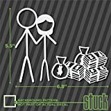 stick figure decals - Stick Figure Couple With Money - 6.8