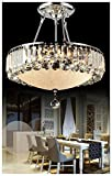 Dst Luxury Round Crystal Droplets Flush Mount LED Chandelier Ceiling Light Fixture Pendant Lamp for Dining Room Bedroom Livingroom
