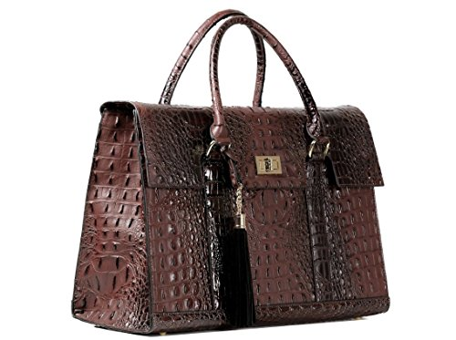 "16″ Stylish Designer Faux Leather Laptop / Ipad / Tablet Handbag Shoulder Bag Women's Executive Fashion Briefcase Handbag – ""Savannah Heritage"" Limited Edition (Coffee Brown)"