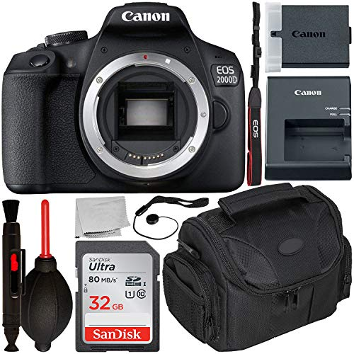 Canon EOS 2000D DSLR Camera (Body Only) with Starter Accessory Bundle – Includes: SanDisk Ultra 32GB SDHC Memory Card + Camera Carrying Case + Body Cap Keeper + Cleaning Pen + Dust Blower + More