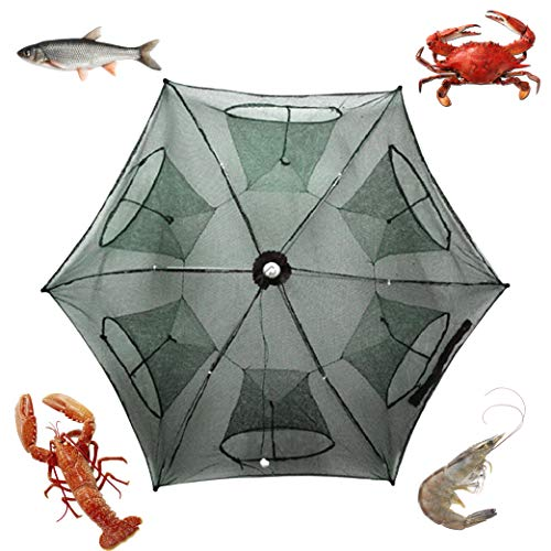 (Noa Store New Fishing Bait Foldable Net Trap Cast Dip Cage Crab Fish Minnow Crawdad Shrimp)
