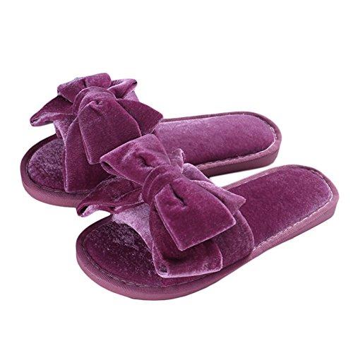 MALL Warm pourpres Pantoufles Soft violettes Plateforme Bowknot Pantoufles CHIC zFdXqq