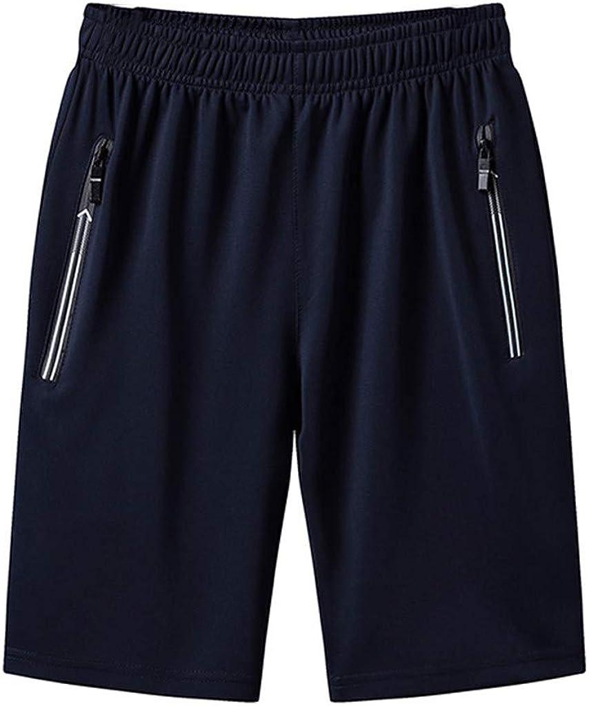 CLEEYYS Mens Shorts Jersey Elastic Waist with Zipper Pockets Shorts Mens Athletic Shorts