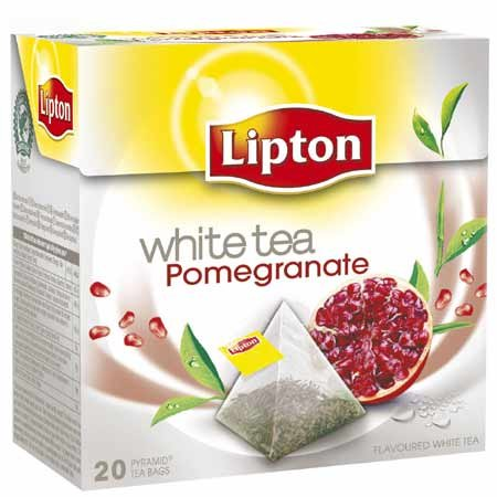 White Pomegranate - Lipton - WHITE TEA POMEGRANATE - 20 count box (Pack 8 boxes = 160 count) Pyramid tea bags