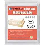 HOMEIDEAS 2-Pack Extra Thick 4 Mil Mattress Bag for Moving & Long-Term Storage, Fits Queen/King Size