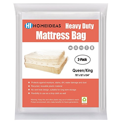 Linen Box Spring Cover - HOMEIDEAS 2-Pack Extra Thick 4 Mil Mattress Bag Long-term Storage, Fits Queen/King Size
