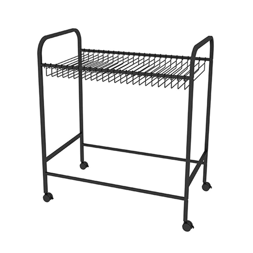 Pants Hangers JX 20-Pair Rolling Trouser Trolley Rack, Removable, Ideal for Home Cloakroom Closet Organizer - 55×43×80CM (Color : Black)