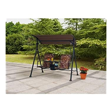 Outdoor Swing Lounge Big and Tall 2-seat Bungee Swing Fade-resistant Print Camo Fabric Pivoting Table and Storage Console