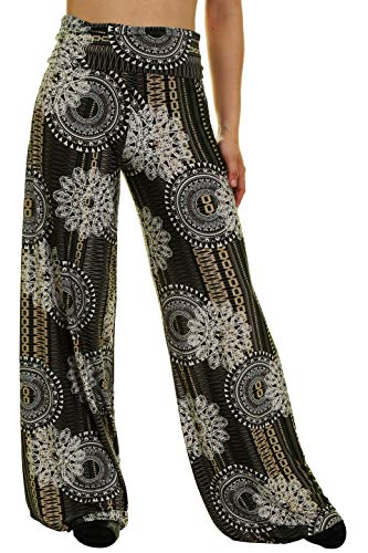 Uptown Apparel Womens Fold Over Waist Wide Leg Palazzo Pants, Good for Tall Curvy Women-Ships from U.S.A (Los Angeles) (S, OLIVE2106)
