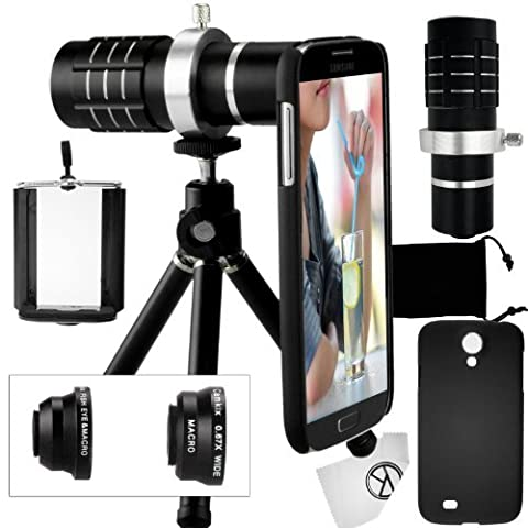 Camkix Samsung Galaxy S4 Camera Lens Kit including a 12x Telephoto Lens / Fisheye Lens / 2 in 1 Macro Lens and Wide Angle Lens / Mini Tripod / Universal Phone Holder / Telephoto Lens Holder Ring / Hard Case for S4 / Velvet Phone Bag / CamKix Microfiber Cleaning - Velvet Lens