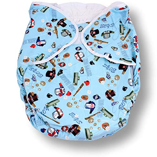 Rearz - Bulky Fitted Nighttime Cloth Diaper (Blue - Sports) (Large/X-Large) ()