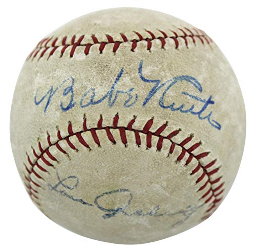 Lou Gehrig Autographed Baseball - Yankees Babe Ruth & Lou Gehrig Signed Baseball #AE02944 - PSA/DNA Certified - Autographed Baseballs