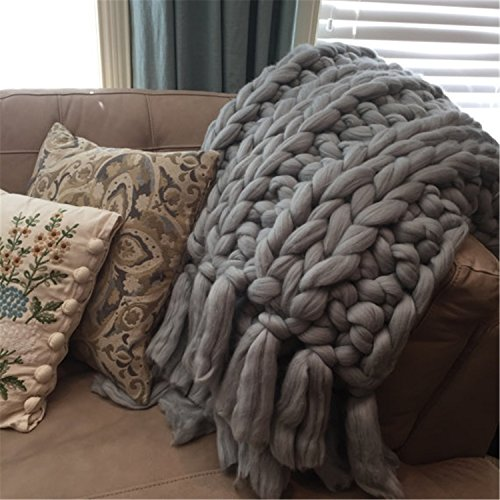 HomeModa Chunky Super Bulky Wool Sofa Throw Thick Cable Knit Warm Decorative Bed Throw Blanky w/ Rib Stitch Fringe Big Knit Merino Wool Soft Cozy Blanket (51 x 67 inches (130 cm x 170 cm), grey) price tips cheap