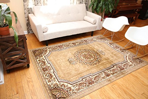 Feraghan/New City Traditional French Floral Wool Persian Area Rug, 9 x 12, Beige (Beige Persian Wool Rug)
