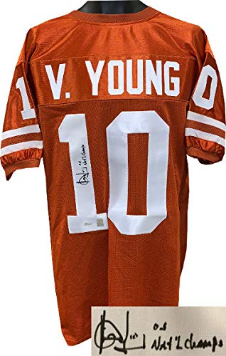 Vince Young Autographed Signed Memorabilia Texas Longhorns Orange Custom Stitched College Football Jersey XL 05 National Champs - JSA Authentic
