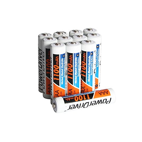PowerDriver NiMH Ni-MH AAA Rechargeable Batteries for Solar Lamp Light, 12-count (1100 mAh,1.2V, Pre-Charged)