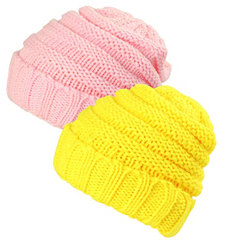 JAKY Global Beanie Hat For Cute Baby Boy/Girl Toddler Ribbed Knit Children Winter Cap (Pink/Yellow(2pcs))