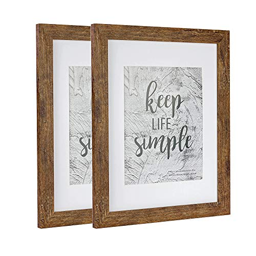 Home&Me 11x14 Rotten Brown Picture Frame 2 Pack - Made to Display Pictures 8x10 with Mat or 11x14 Without Mat - Wide Molding - Wall Mounting Material Included (Browns Picture Frame)