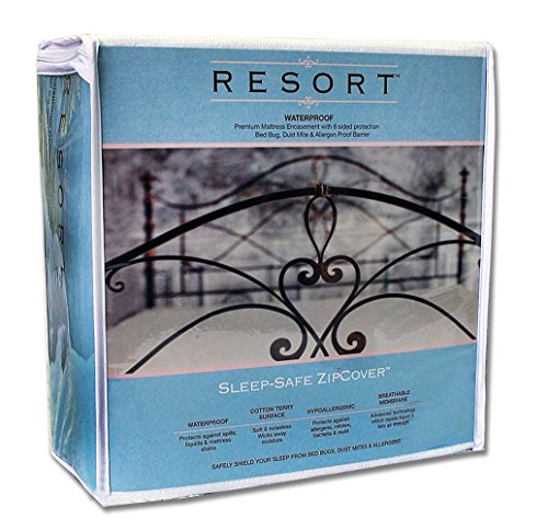 - Resort Waterproof Mattress Protector Sleep Safe ZipCover Queen | Dust Mite & Bed Bug Proof Encasement Cover (Queen 9'')