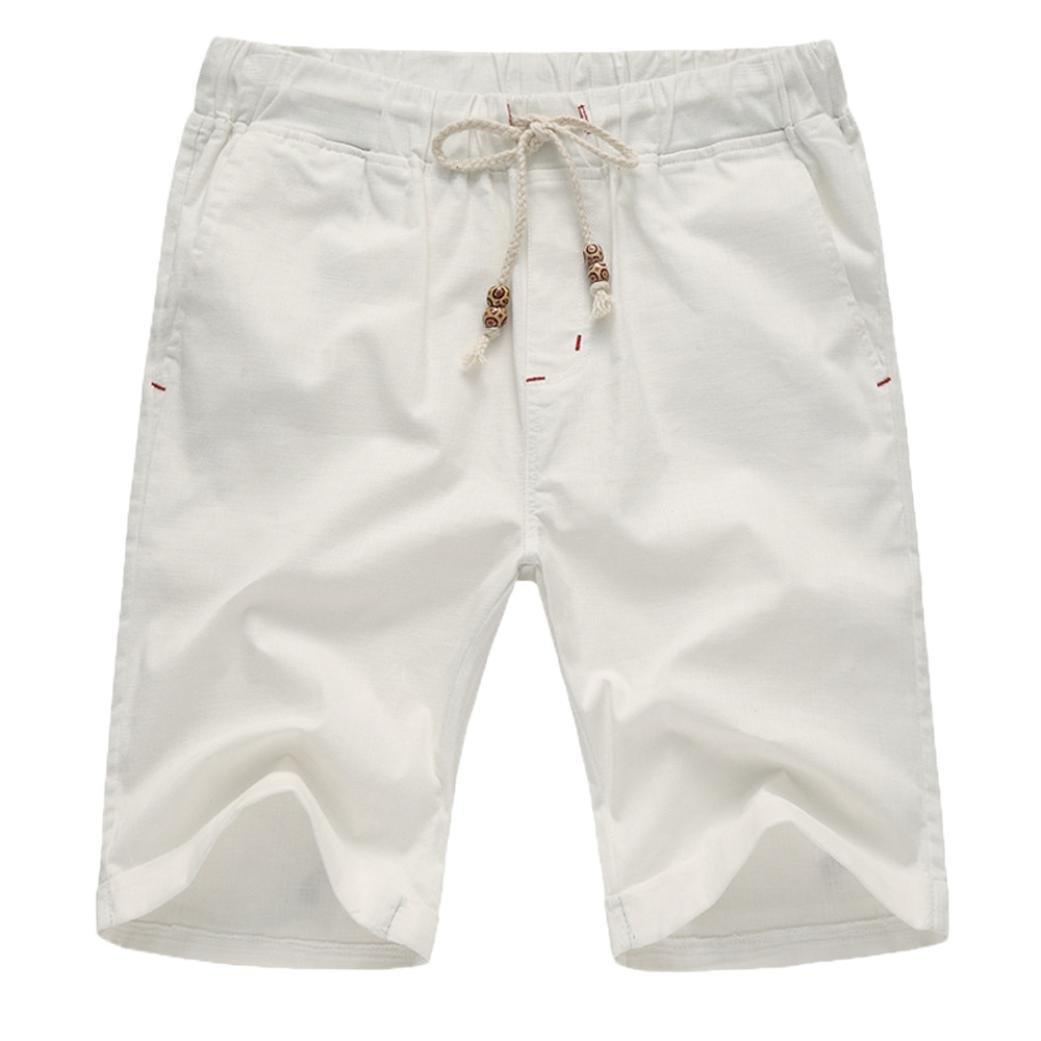 vermers Hot Sale Men Summer Short Pants Linen Cotton Solid Beach Casual Elastic Waist Classic Fit Shorts(2XL, White) by vermers