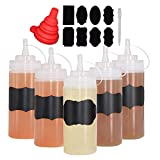 Benail 8 Pack 16 oz Plastic Squeeze Squirt Condiment Bottles with Twist On Cap Lids - Perfect for Condiments, Oil, Icing, Liquids–Set of 8 with extra 1 Silicone Funnel, 8 Chalk Labels and 1 Pen