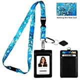 Van Gogh Almond Blossom Print Lanyard with PU Leather ID Badge Holder Wallet with 2 Card Pockets, Safety Breakaway Clip. Gift of Carabiner Keychain Flashlight. Lanyard for Cruise or Work.