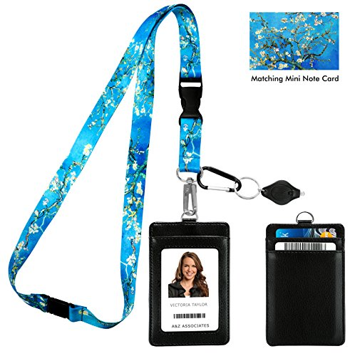 Van Gogh Almond Blossom Print Lanyard with PU Leather ID Badge Holder Wallet with 3 Card Pockets, Safety Breakaway Clip. Gift of Carabiner Keychain Flashlight. Lanyard for Cruise or Work. by One In A Millionaire