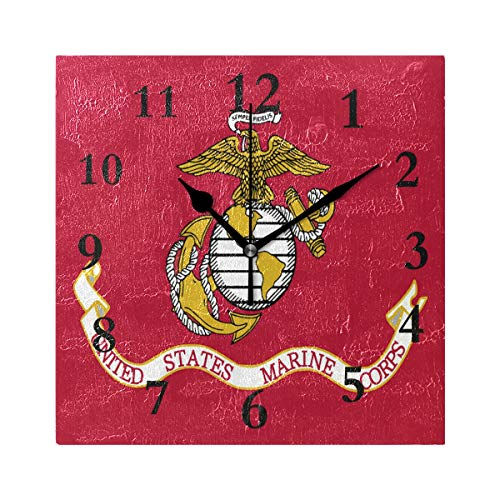 ZHOUSUN Personalized Non Ticking Silent Clock Art Living Room Kitchen Bedroom for Home Decor Personalized US Marine Corps Flag Square Acrylic Wall Clock