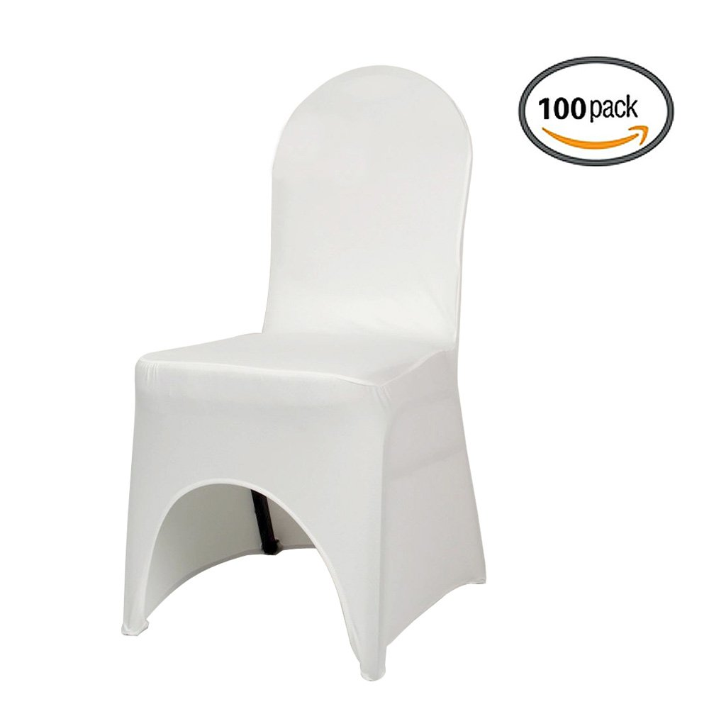COOCHEER Universal 100pcs White Chair Covers Spandex/Lycra Metal & Plastic Folding Decoration For Wedding, Banquet, Party