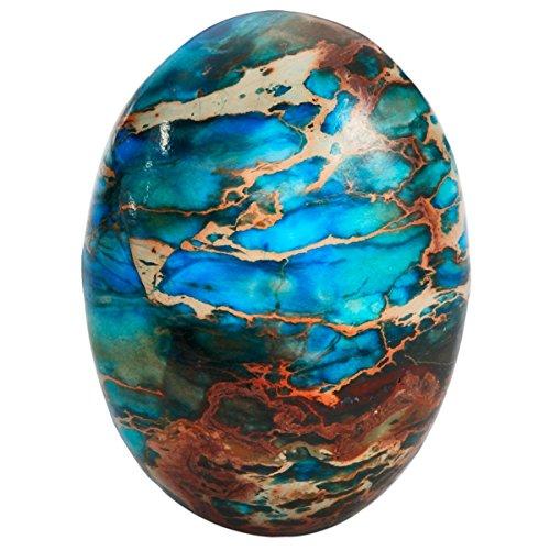 Precious Agate Semi Stone (TUMBEELLUWA Sea Sediment Jasper Oval Stone Cabochons Flatback Semi-Precious CAB for Jewelry Making Pack of 5, Light Blue(18x25mm))