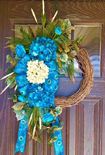 Large Grapevine Wreath Turquoise Metallic Hydrangea Spring Summer Flowers ()