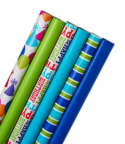 American Greetings Birthday Wrapping Paper Bundle, Multicolor