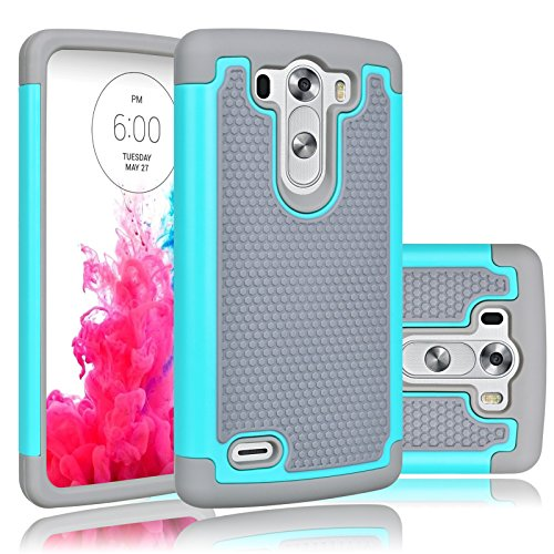 LG G3 Vigor Case, LG G3 Mini Case, Tekcoo(TM) [Tmajor Series] [Turquoise/Grey] Shock Absorbing Hybrid Rubber Plastic Impact Defender Slim Hard Case Cover Shell For LG G3 Vigor,G3 Mini LS885 D725 (Lg G3 Vigor Phone Accessories compare prices)