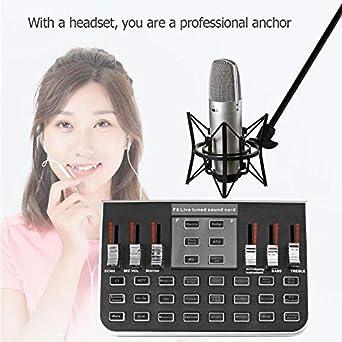 Haude F8 4 modalit/à Studio Audio Mixer Microfono Webcast Entertainment Streamer Live Sound Card per Telefono Computer